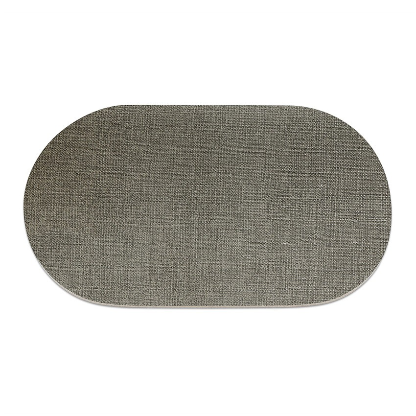 9 sets de table ovale en PVC gris aspect jute