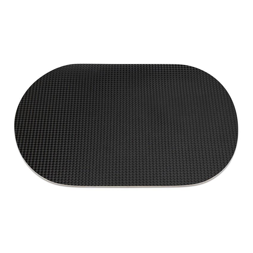 9 sets de table ovale en PVC noir aspect carbon