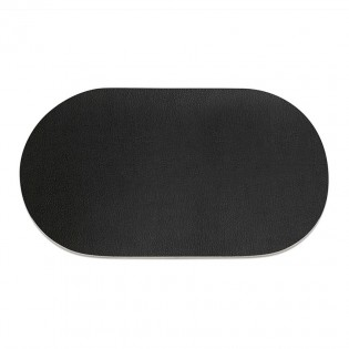 9 sets de table ovale en PVC noir aspect lisse