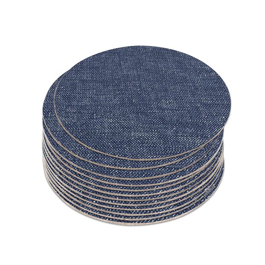 10 dessous de verres PVC bleu aspect jean's