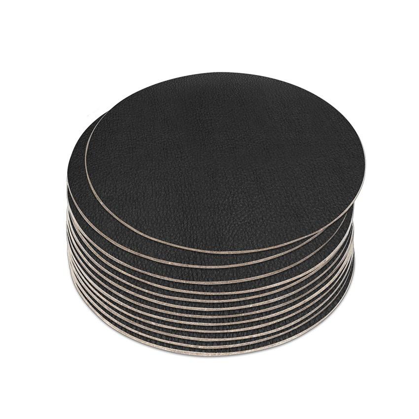 10 dessous de verres PVC noir aspect lisse