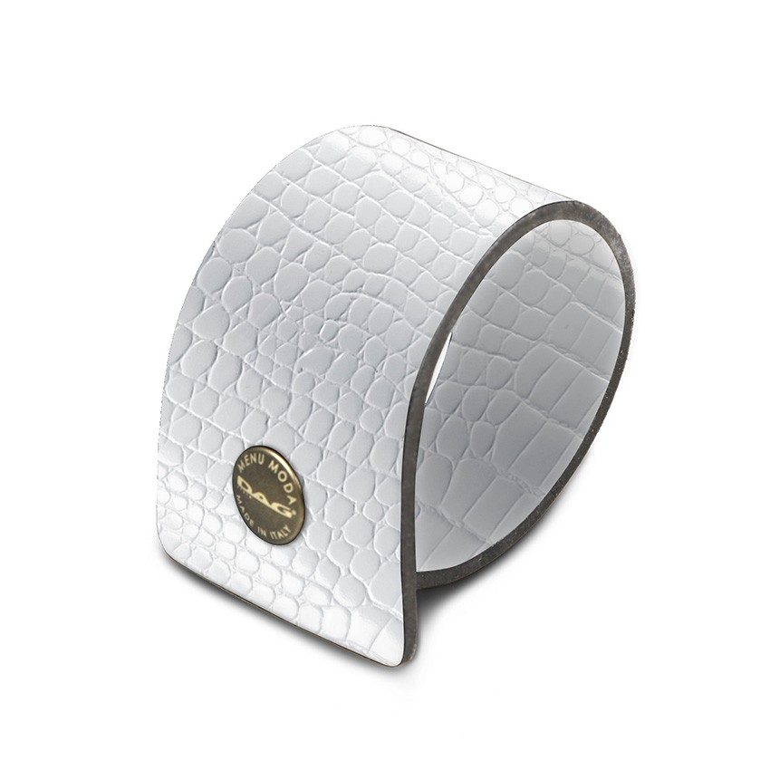 10 ronds de serviette Fashion blanc aspect crocodile