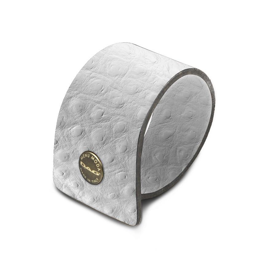 10 ronds de serviette Fashion blanc aspect peau d'autruche