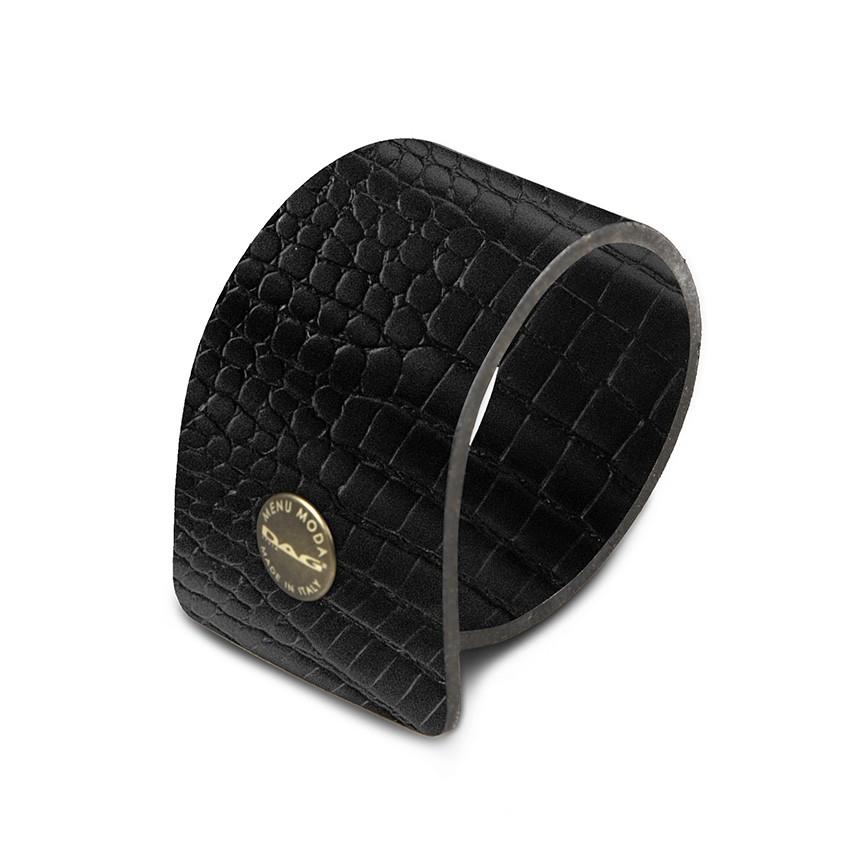 10 ronds de serviette Fashion noir aspect crocodile