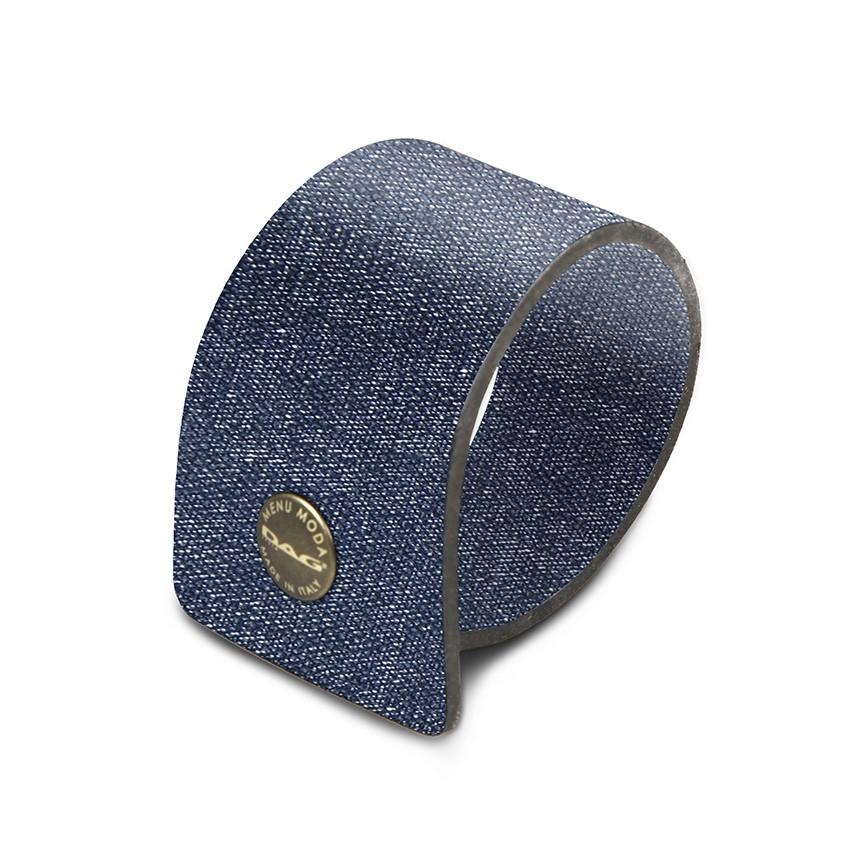 10 ronds de serviette en PVC bleu aspect jean's