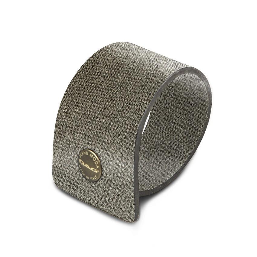 10 ronds de serviette en PVC gris aspect jute