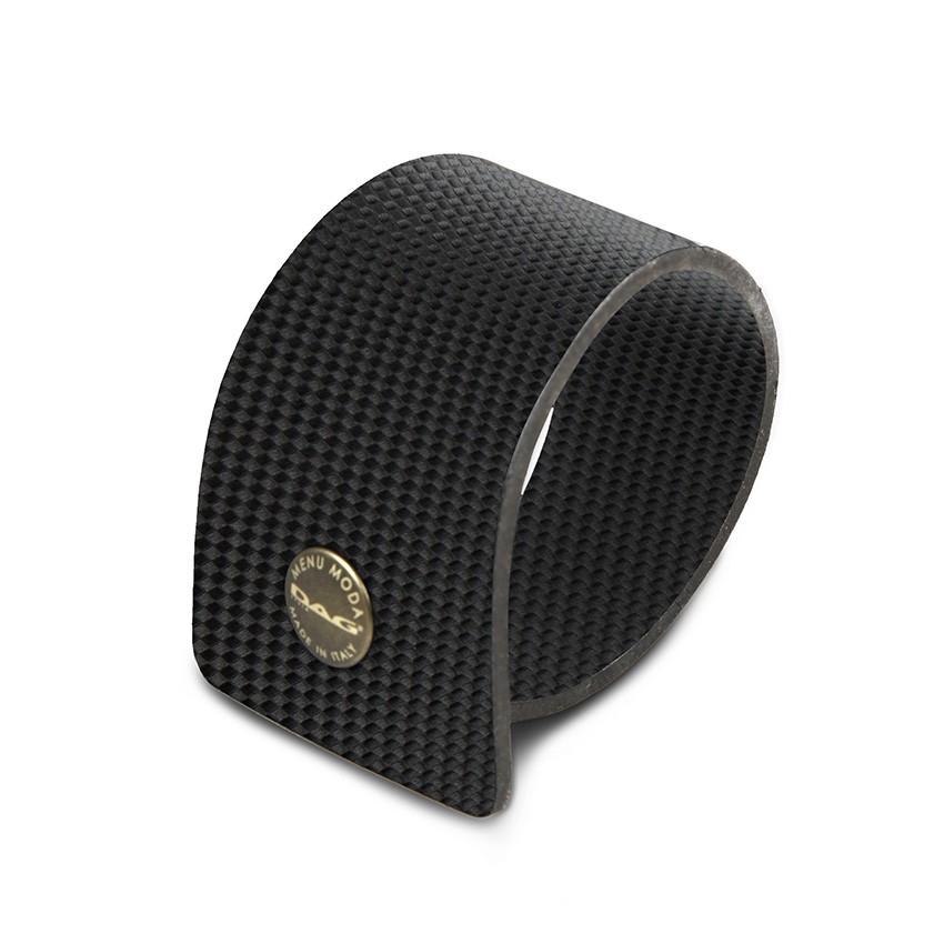 10 ronds de serviette en PVC noir aspect carbon