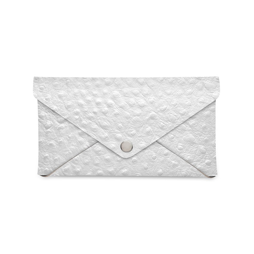 Porte-addition CLUTCH en cuir blanc aspect crocodile