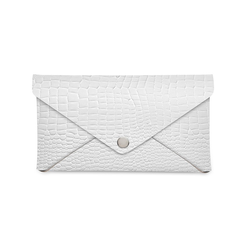 Porte-addition CLUTCH en cuir blanc aspect peau d'autruche