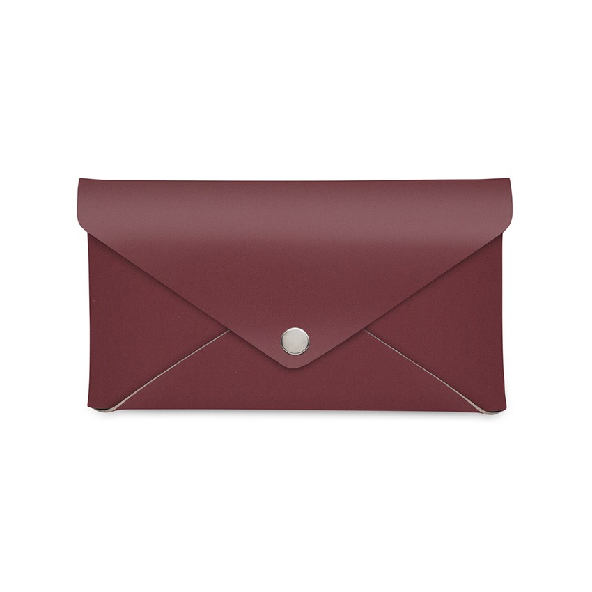 Porte-addition CLUTCH en cuir bordeaux aspect lisse