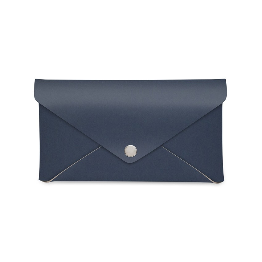 Porte-addition CLUTCH en cuir bleu aspect lisse