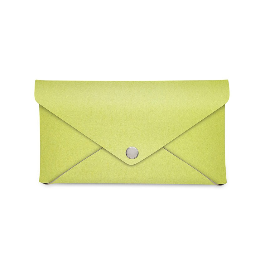 Porte-addition CLUTCH en cuir citron vert aspect lisse
