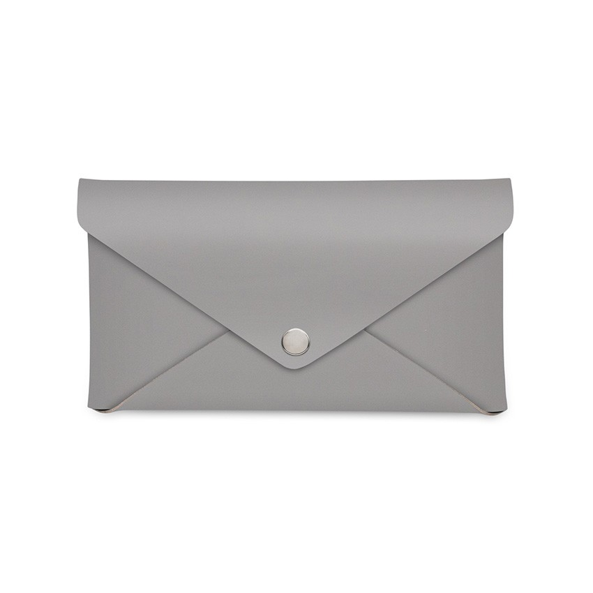 Porte-addition CLUTCH en cuir gris aspect lisse
