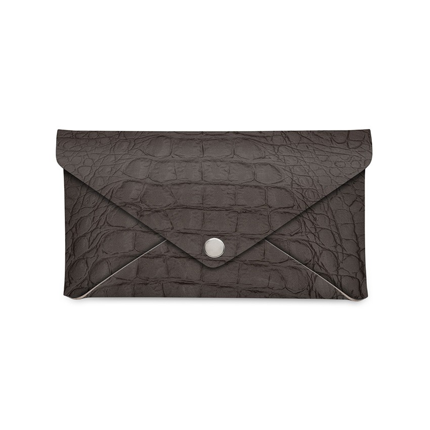 Porte-addition CLUTCH en cuir marron aspect crocodile