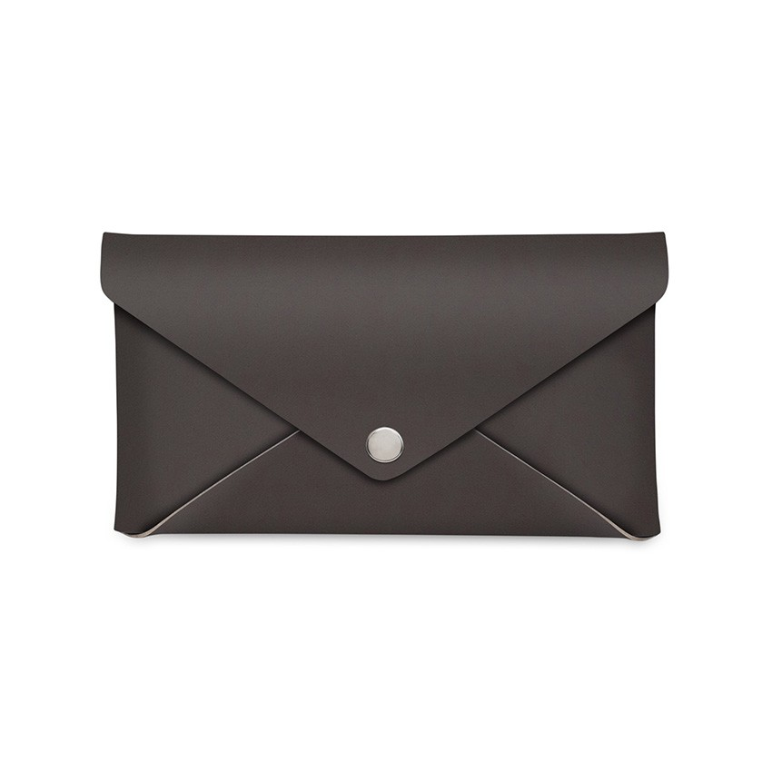 Porte-addition CLUTCH en cuir marron aspect lisse