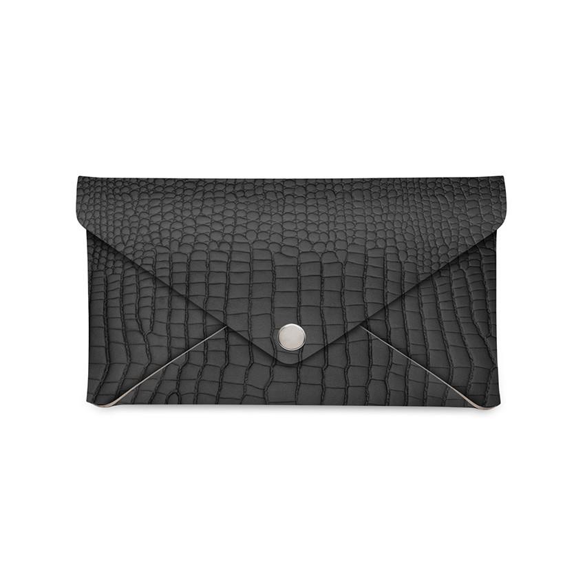 Porte-addition CLUTCH en cuir noir aspect crocodile