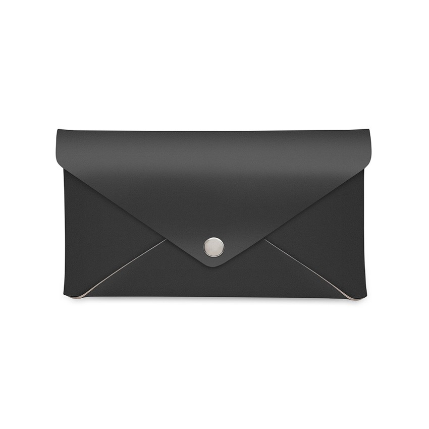 Porte-addition CLUTCH en cuir noir aspect lisse