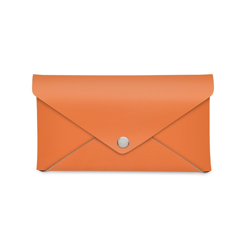 Porte-addition CLUTCH en cuir orange aspect lisse