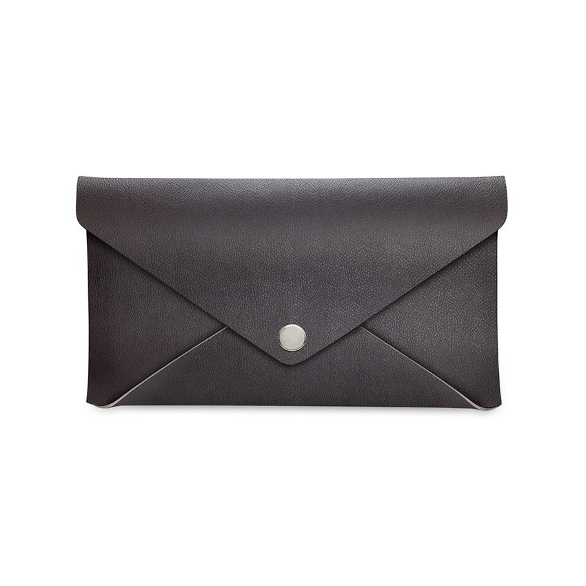 Porte-addition CLUTCH en PVC marron aspect lisse