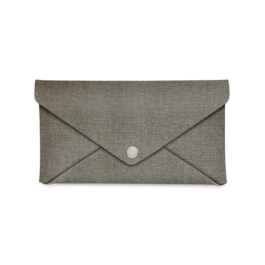 Porte-addition CLUTCH en PVC gris aspect jute