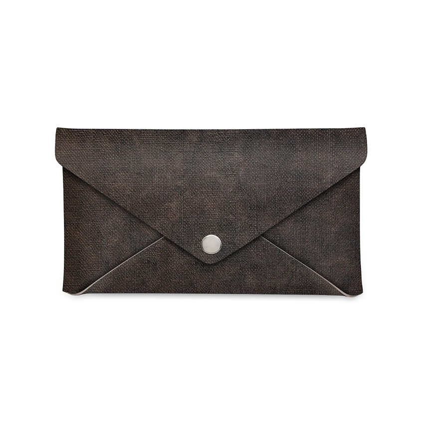Porte-addition CLUTCH en PVC Marron aspect jute