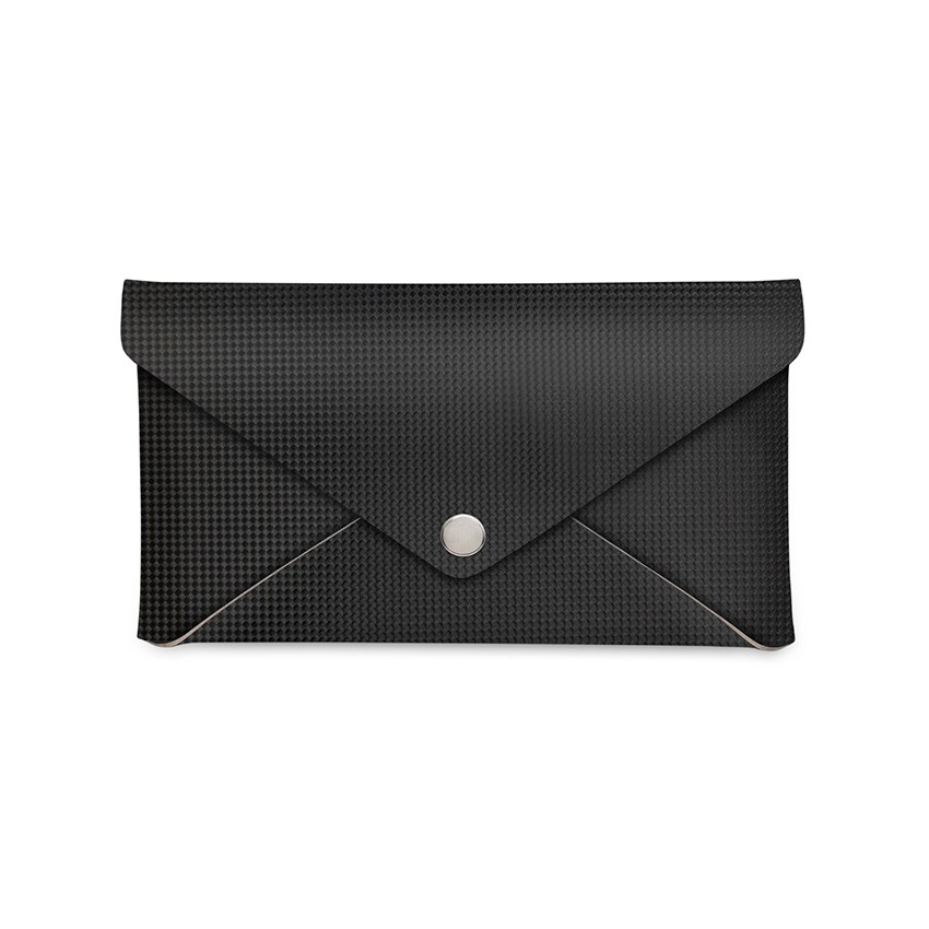 Porte-addition CLUTCH en PVC noir aspect carbon