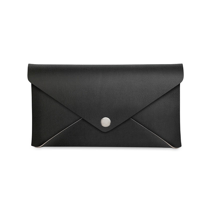 Porte-addition CLUTCH en PVC noir aspect lisse