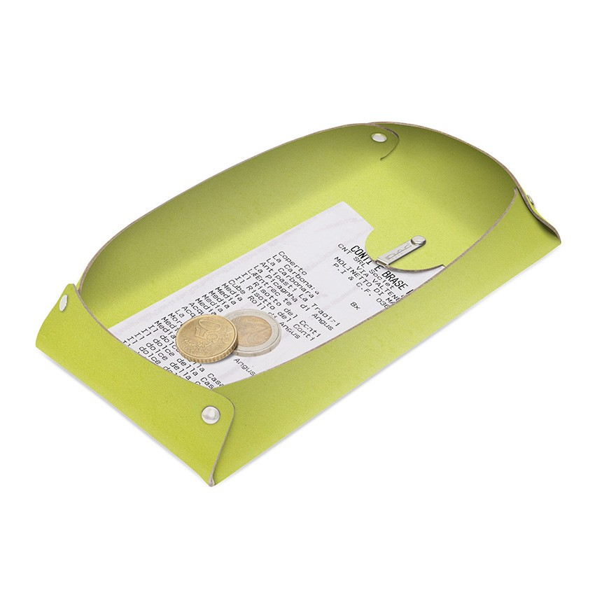Porte-addition OPEN en cuir citron vert aspect lisse