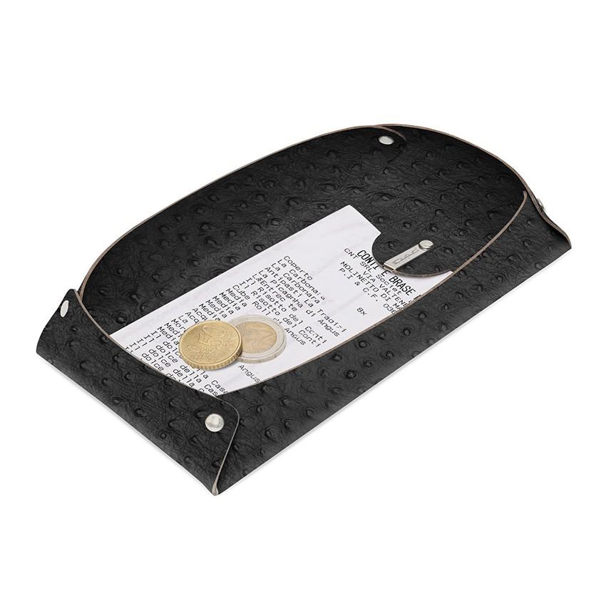 Porte-addition OPEN en cuir noir aspect peau d'autruche
