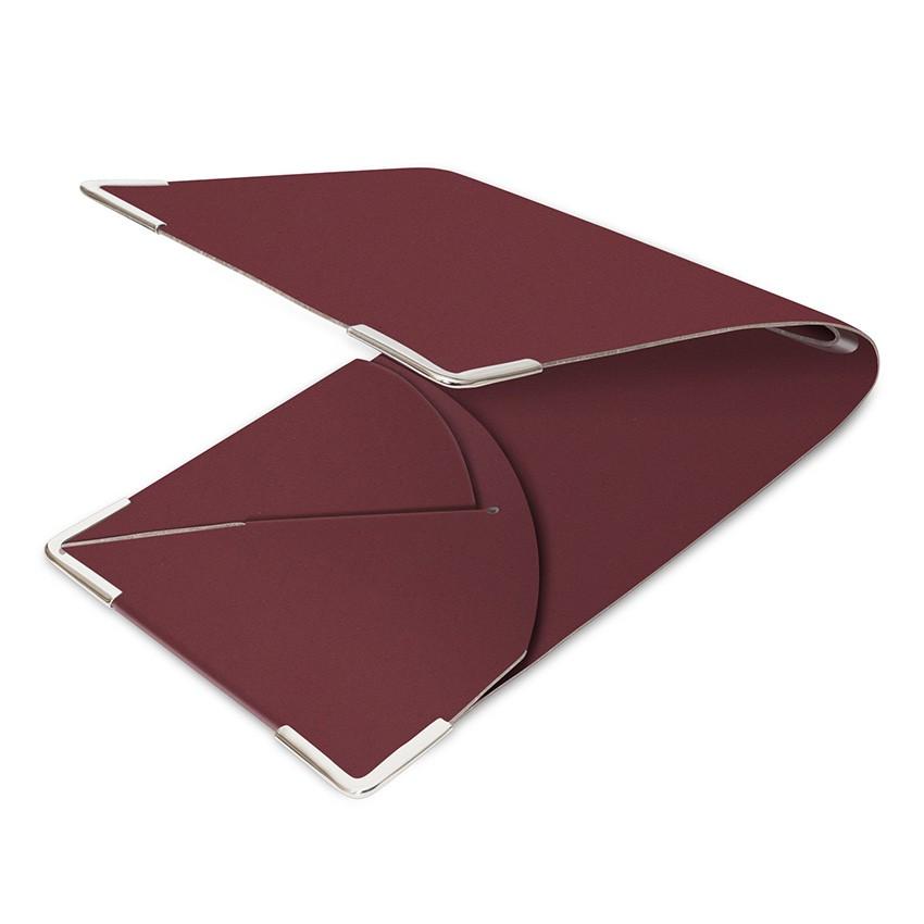 Porte commande en cuir bordeaux aspect lisse