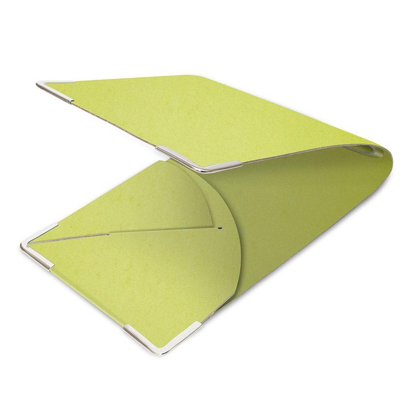 Porte commande en cuir citron vert aspect lisse