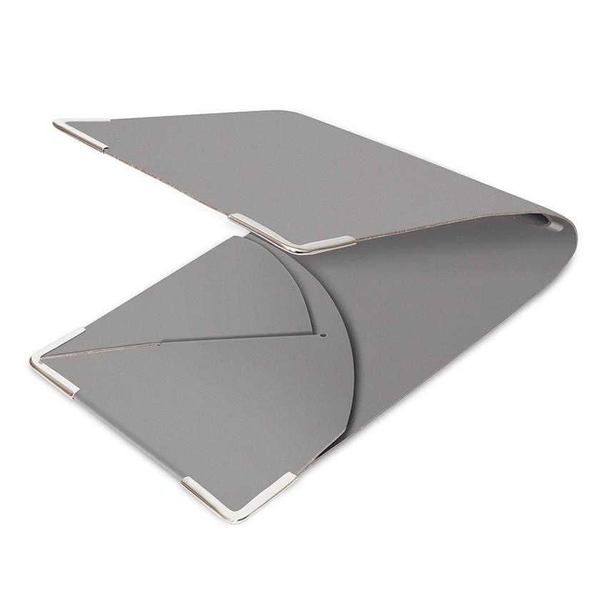 Porte commande en cuir gris aspect lisse