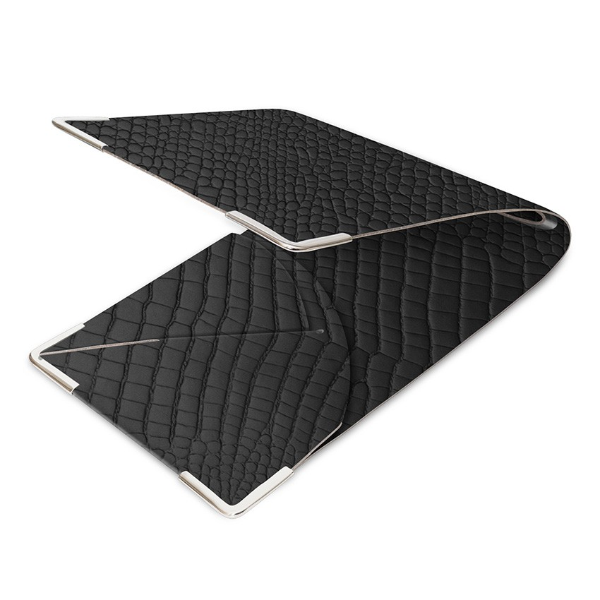 Porte commande en cuir noir aspect crocodile