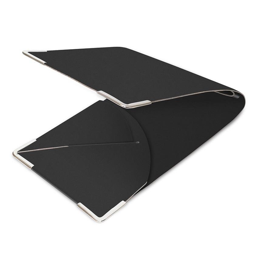 Porte commande en cuir noir aspect lisse