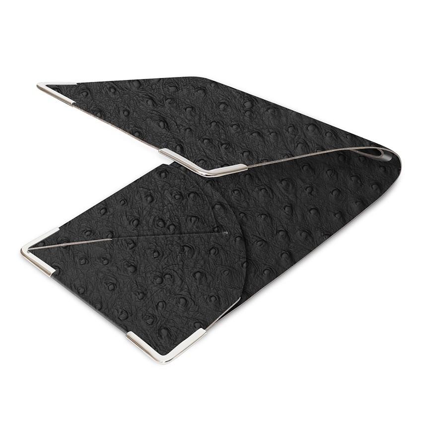 Porte commande en cuir noir aspect peau d'autruche