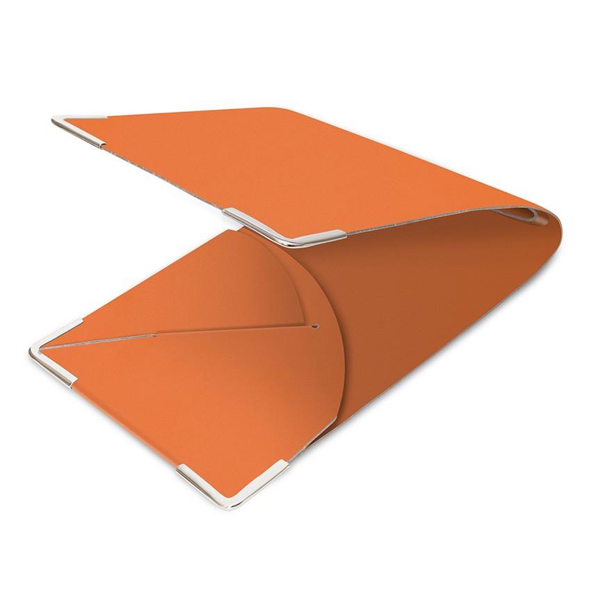 Porte commande en cuir orange aspect lisse