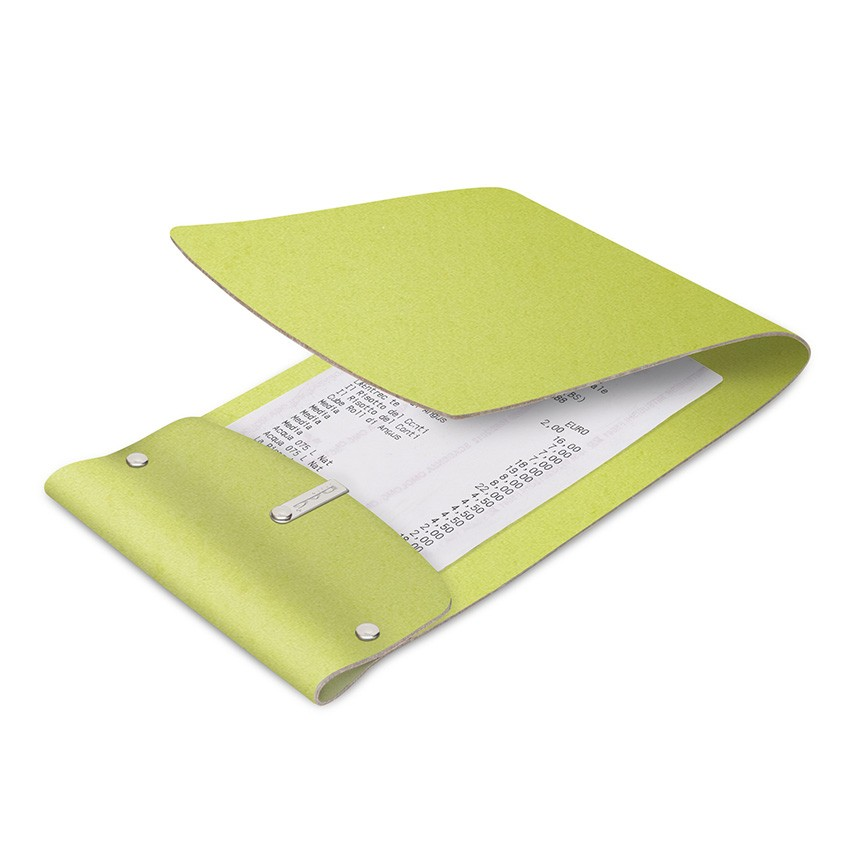 Porte-addition LIGHT en cuir citron vert aspect lisse