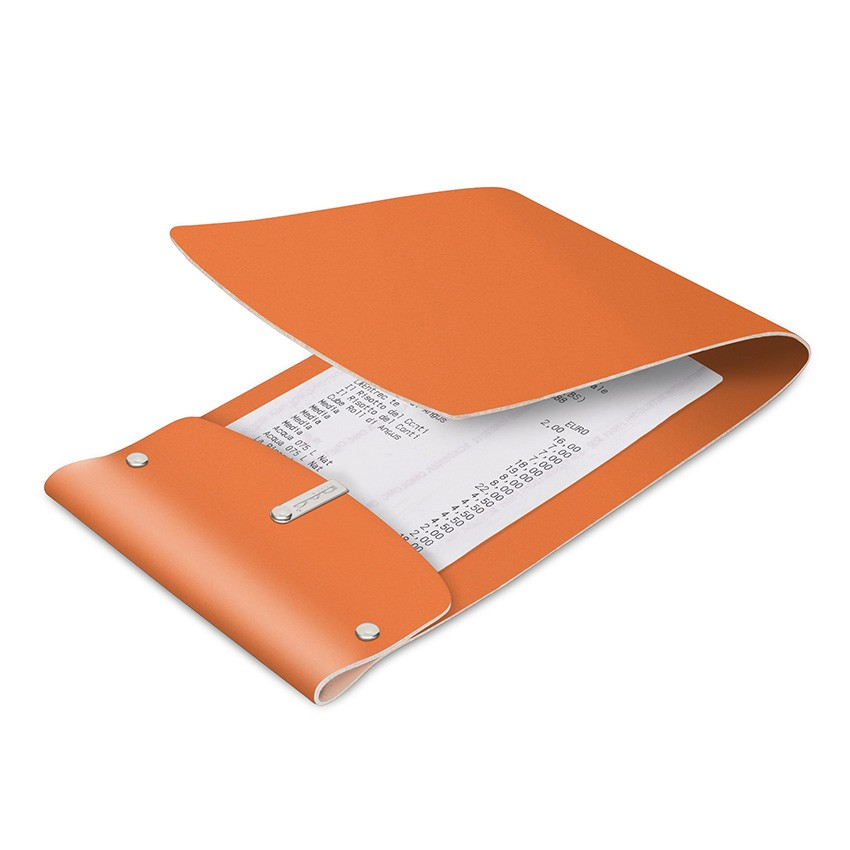 Porte-addition LIGHT en cuir orange aspect lisse