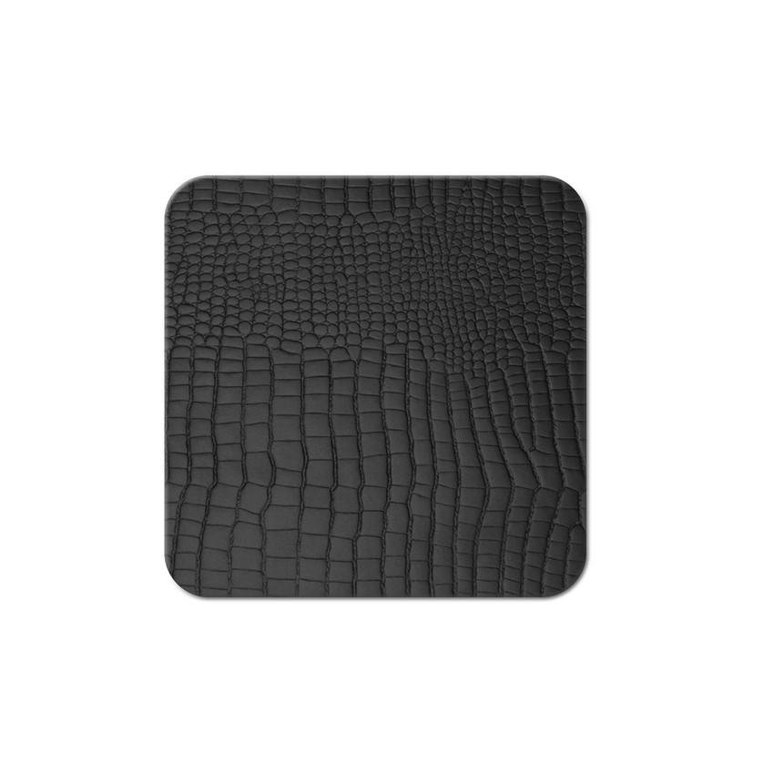 10 dessous de verres Fashion noir aspect crocodile