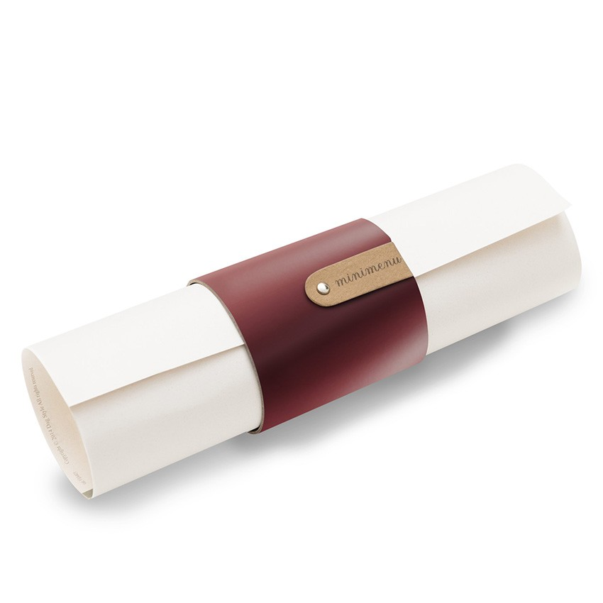 5 porte-menus ou porte-serviettes Fashion bordeaux aspect lisse