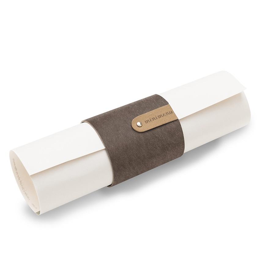 5 porte-menus ou porte-serviettes Ecologique marron aspect fibre lisse