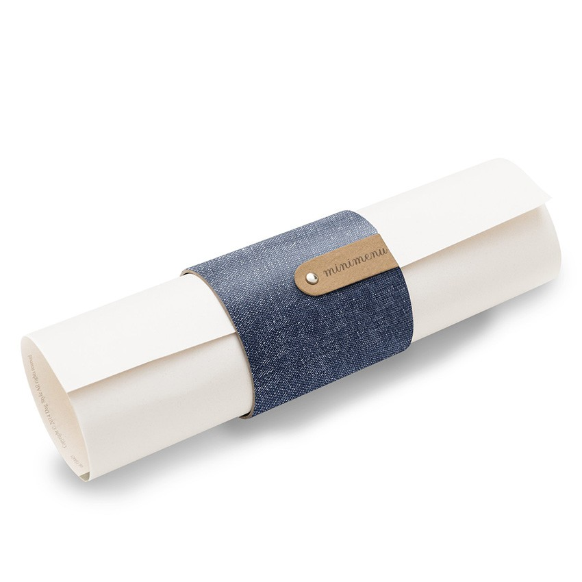 5 porte-menus ou porte-serviettes PVC bleu aspect jean's