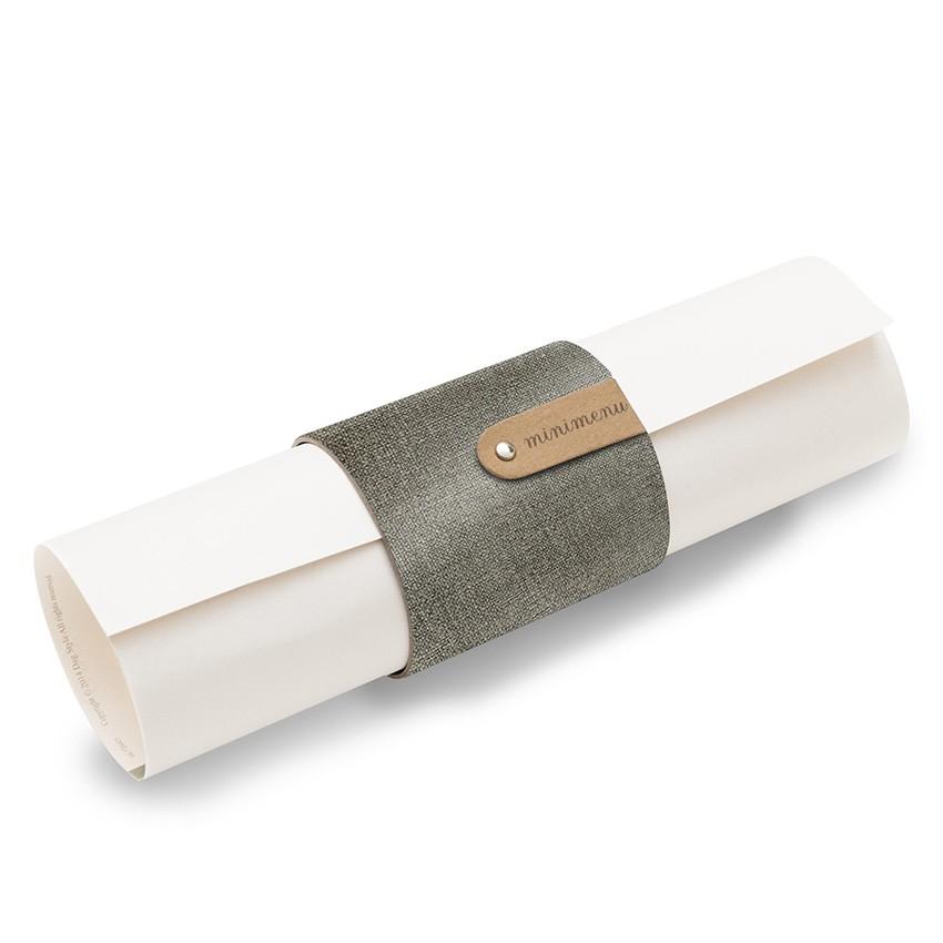5 porte-menus ou porte-serviettes PVC gris aspect jute