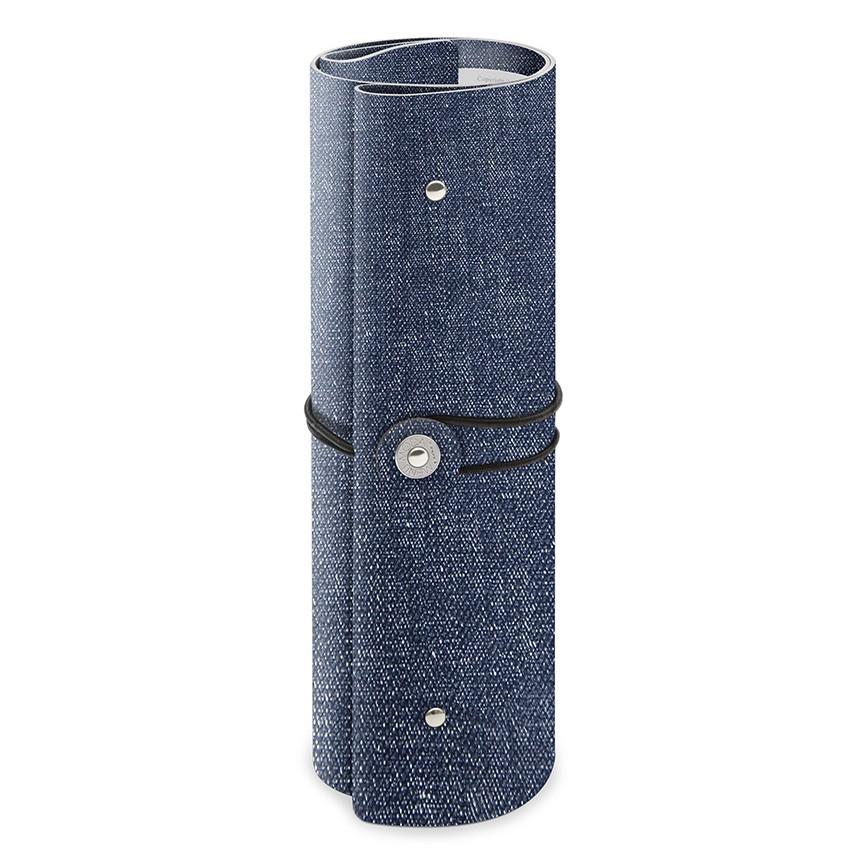 Protège menu A4 enroulé PVC bleu aspect jean's