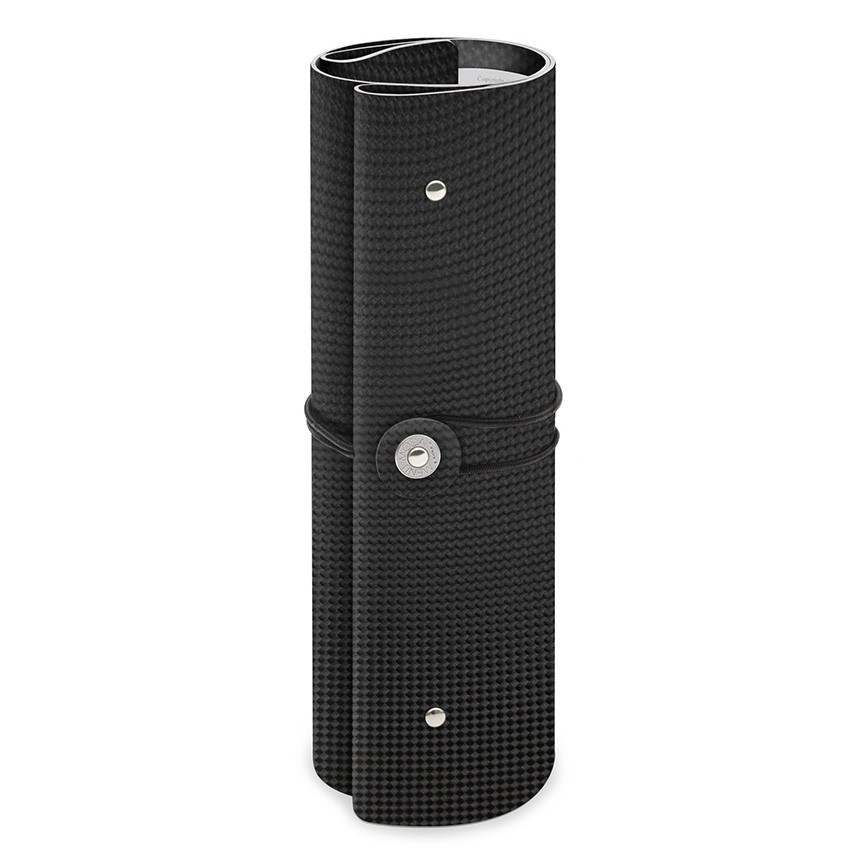 Protège menu A4 enroulé PVC noir aspect carbon