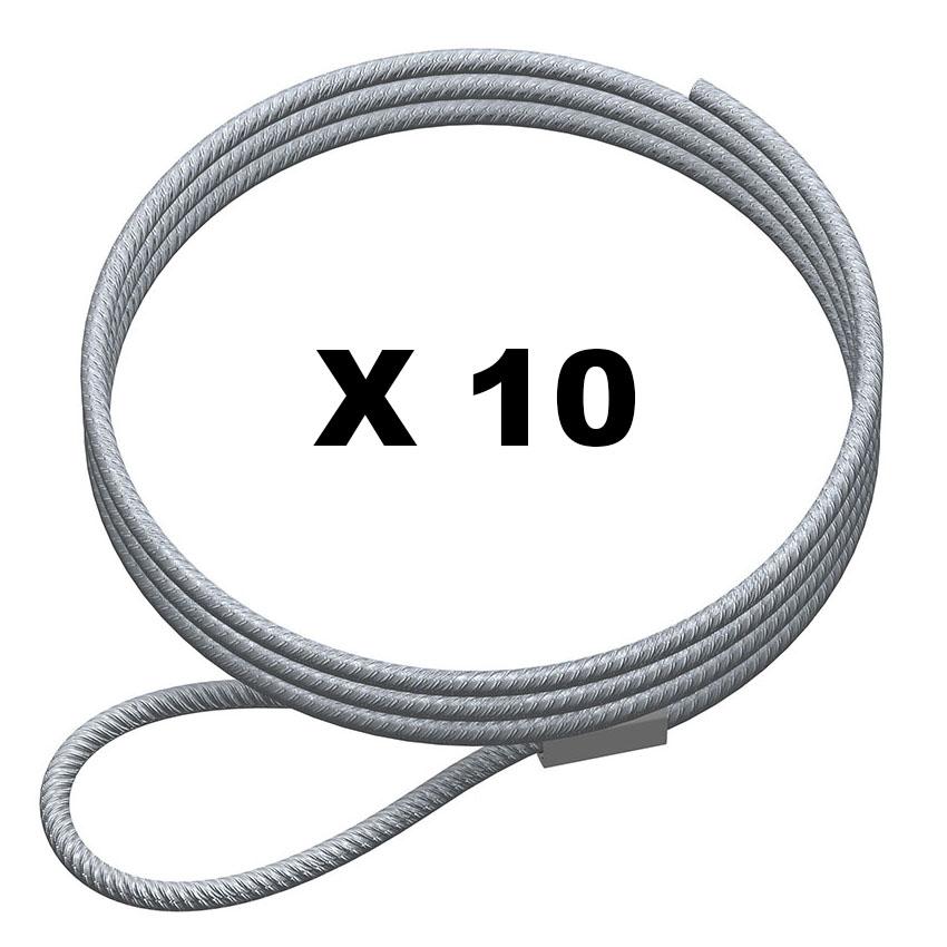 lot 10 cable boucle acier