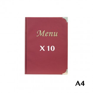 10 Protège-menus A4 Basic bordeaux