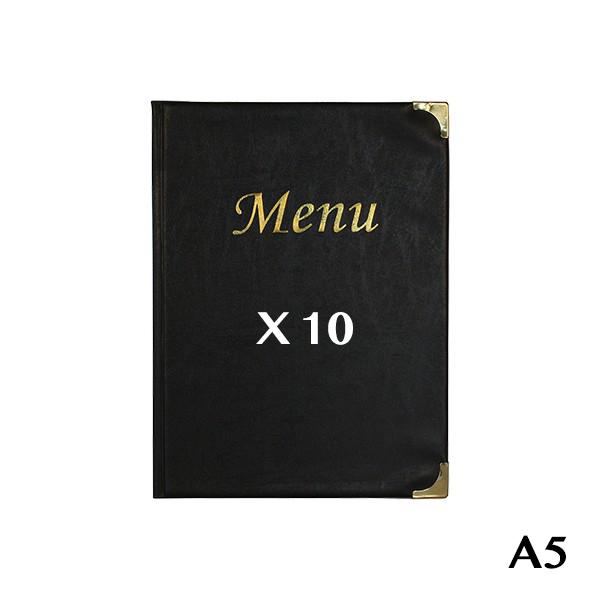 10 Protège-menus A5 Basic noir