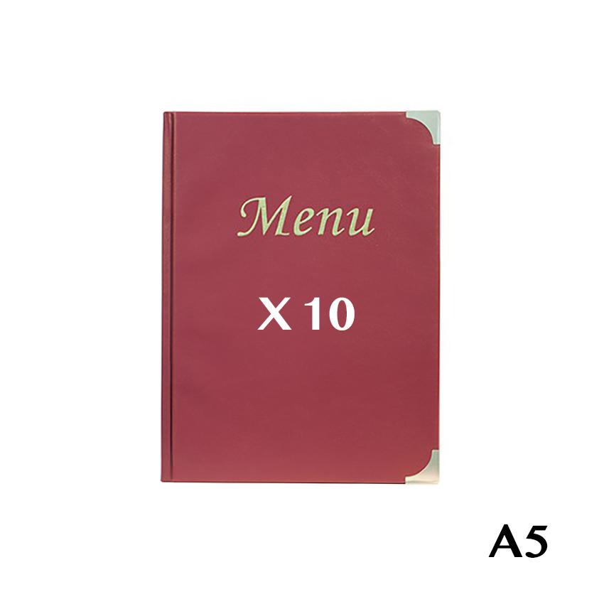 10 Protège-menus A5 Basic bordeaux
