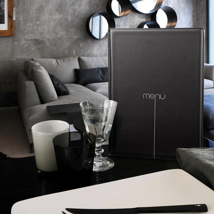 Lot de 10 Protège-menu Risto A4 noir